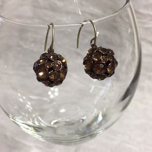Fossil Bronze Rhinestone Earrings